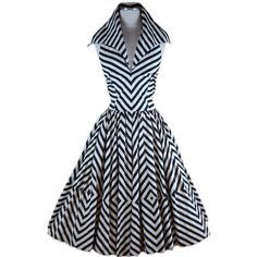 1950s Renee Marciel Black and White Stripe Halter