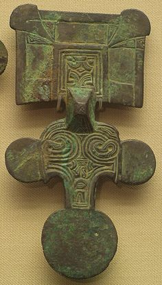 Anglian Square Headed Brooch 6th century from the East of England.  Gilt Bronze  British Museum