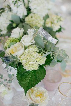 hydrangea centerpiece, photo by Chloe Giancola Photography http://ruffledblog.com/notwedding-athens #weddingcenterpieces #hydrangeas #flowers