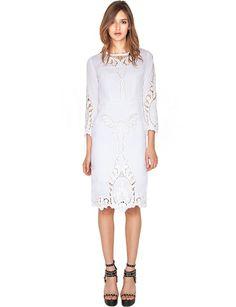 White Summer Lace Dress - Crochet Midi Dress - Ivory Dress
