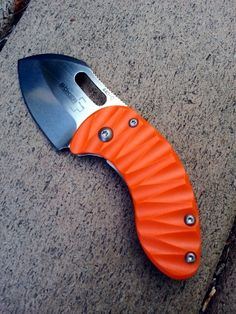 Boker Plus Nano. Great tiny knife. Blade is only 1 1/8 inch long. This is the Blade Hq limited edition orange scale. Mine is number 029 of 600. http://www.bladehq.com/item--Boker-Plus-Nano-Folding-Knife--15122