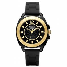 Boyfriend Rubber Gold Plated Strap Watch from Coach