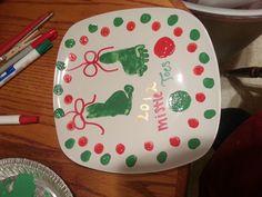 Mistletoes baby foot prints christmas