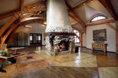 Wonderful Timber-Framed House Interior Designs: Amazing Interior Modern Timber Framed Home Classic Style Fireplace
