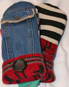 Handcrafted Denim and Wool Mitten by 47Sweaters on Etsy, $35.00 blue jean, diy project, handcraft denim, wool mitten