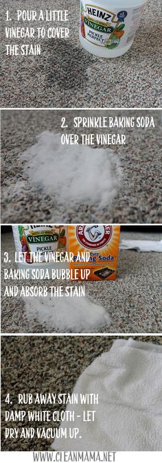 Super simple and effective method to get those stains out! Step by Step Carpet Stain Removal via Clean Mama