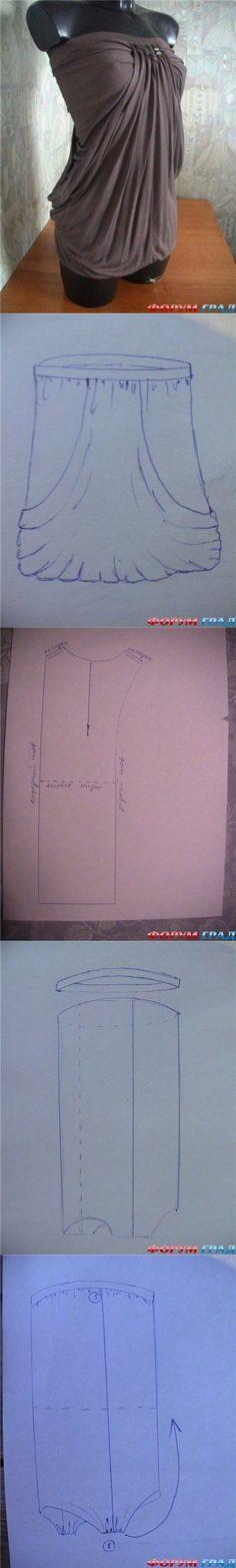A base dessa blusa, é um top tomara que caia alongado, a parte inferior recebe dois recortes semi-circulares. Em seguida, após fechar como um tubo e costurar elásticos, a parte inferior é trazida para cima, se encontrando com o decote.   É importante usar um tecido de dupla face que não possua lado avesso.