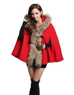 Kattee Luxury Women's Real Fur Collar Hooded Wool Cape Poncho Cloak Coat - List price: $699.00 Price: $126.99  #Kattee