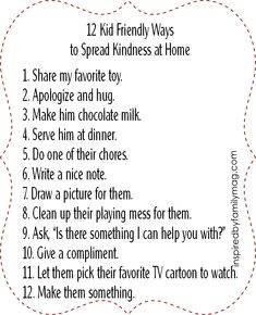 Kid friendly ways to spread kindness at home