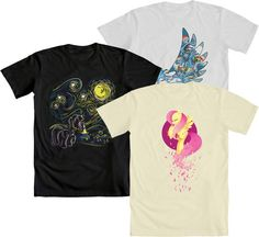 """HOORAY FOR WE LOVE FINE WEDNESDAY! This week, repin this post and you are entered to win your choice from the first prize winners in our three My Little Pony """"My Favorite Pony"""" contests for Rainbow Dash, Twilight Sparkle and Fluttershy! Mens and womens' tees available! Repin and WIN!"""