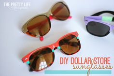 DIY Dollar Store Sunglasses are the perfect way to jazz up your glasses and save money this summer!