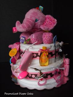 Two tier pink elephant diaper cake