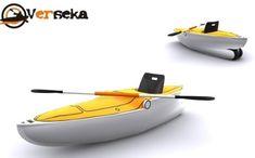 Verseka portable boat folds in half for easy transportation