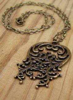 Vintage Style Bronze Swirl Necklace by DragonInDixie on Etsy, $15.00