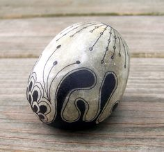 Rock 9: Micron pen (ink) on rock. August, 2012.  Quartzite from the Teton, WY area.  Private collection. micron pen, pen ink, paint rock