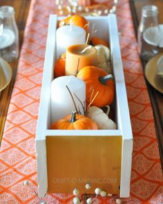 Great idea for a candle holder box centerpiece from @Jennie *Craft-O-Maniac! #turkeytablescapes