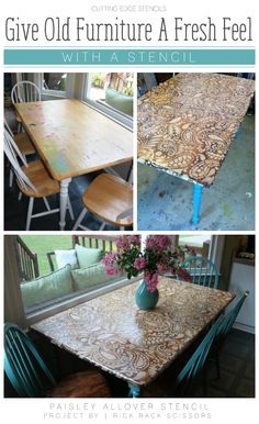 Stencil your furniture to give it a beautiful new look.