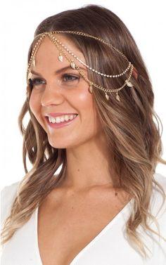 Hair jewellery. Love a cute chained headpiece.  #festivalfashion #fashion #hairaccessories #cutehair