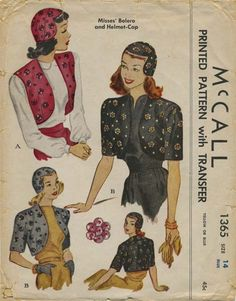 "Vintage Hat Sewing Pattern   McCall 1365   Year 1947   Helmet Cap Headsize 22"" -  Bolero Size Bust 34"