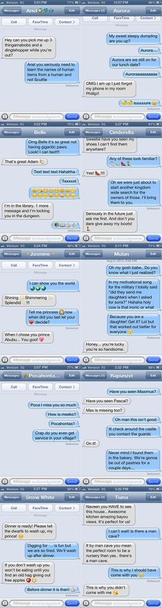 these are too good! What happens when Disney princesses text their princes.