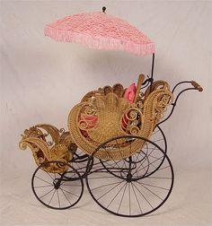 Victorian Wicker Baby Buggy w/ Parasol
