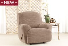Stretch Nouveau Recliner Slipcovers: the diamond-textured pattern on these plush covers has a beautiful way of catching light and dressing up a room.