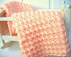 Luxurious Hand Crocheted Baby Blanket -- Perfectly Peach