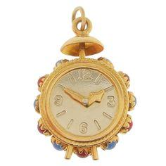 Vintage Clock Charm   Vintage 18K Gold Clock Charm