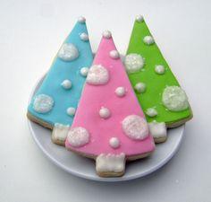 Retro Christmas Tree Sugar Cookies - Pink, Turquoise, Lime.