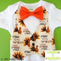 Baby Boy Thanksgiving Outfit -Thanksgiving Onesie - Baby Boy Fall Outfit - Newborn Thanksgiving Outfit - Thanksgiving Vest Bow Tie Onesie