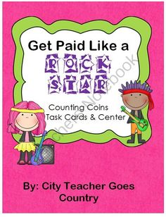 2nd Grade Coin Task Cards/Math Center from City Teacher Goes Country on TeachersNotebook.com -  (9 pages)  - This fun rock star themed math task cards or math center will be a perfect addition to your math lesson! Math Center Includes: * Center Directions, 16 US Coin Task Cards, Recording Sheet, & Answer Key These cards cover a variety of coin skills from id