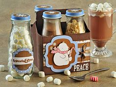 cocoa, marshmallows, white and or chocolate chips gift in a jar