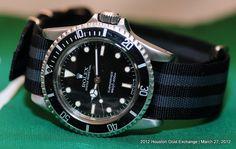 Vintage 1983 Rolex Submariner Ref 5513 on a NATO Military Strap. #Men #Vintage #Watches