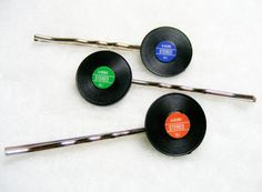 So cute! Mini vinyl record bobbie pins! via daniao on @etsy