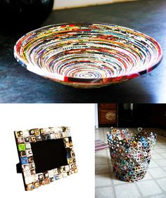 100+ Ways to Creatively Reuse Old Magazines - i think a coat of paint would help some of these ideas!