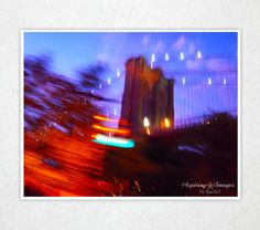 Urban Photography Scarlet New York City Wall Art Bridge Blur Red Blue Street Light Bold Décor Print Rush City Photo 8x10 Photograph. by AspiringImages via Etsy #fpoe