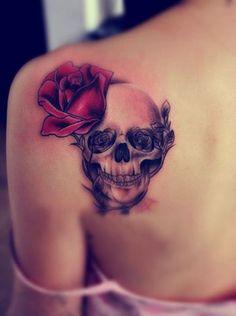 pretty skull tattoos for women | Upper Back Tattoos: Skull Rose Tattoos for Girls / Source