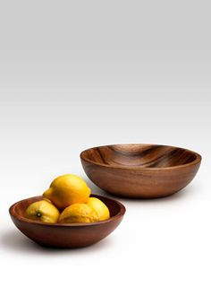 10- and 8-inch Round Acacia Wood Bowls