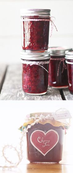 Sour Cherry Jam Recipe + Free PDF Printable Labels for a variety of Jams (Strawberry, Apricot, etc...)