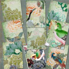 CHINOISERIE  Layered Chinese Silk Painting by StudioSouthernValley
