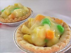 """April fools  """"Chicken""""Pot Pie from Food.com: funny"""" dessert to make everyone giggle.  This from a Kid friendly website....it does take a little bit of time to hand make the veggies but its oh so worth it!!! Makes 6 small pies."""