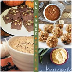 11 New Pumpkin Recipes, including a vegan PSL, protein balls bites, chili, and hummus, and brownies.