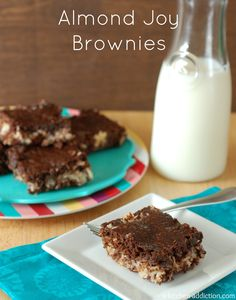 Almond Joy Brownies from www.a-kitchen-addiction.com