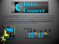 @IndieConnectNYC LIVE CHAT 2-Night @ 9pm EST. Ask us anything, the music biz, meet industry pro's, other musicians, get resources. www.indieconnect.com We are looking forward to meeting & connecting with you!