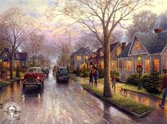 Thomas Kinkade-Hometown Christmas