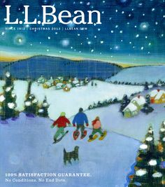L.L.Bean Christmas 2013  Artist Mary Bourke created our Christmas 2013 catalog cover art - in mailboxes this week!   Mary Bourke's unique style focuses on her childhood memories through dreamlike imagery and lively, happy colors. Ms. Bourke is represented by Greenhut Galleries http://www.greenhutgalleries.com/artists/artist.html?name_last=Bourke