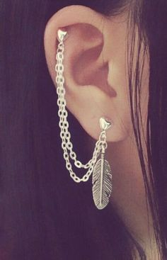 Feather Cartilage Chain Earrings by SimplyyCharming on Etsy, $8.50