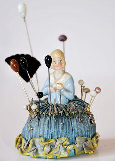 Antique Half Doll Pin Cushion w/ Hat Pins & Ribbon Roses-