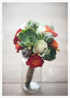succulents and roses bouquet