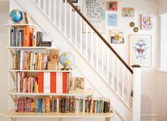 Bookcase against the stairs